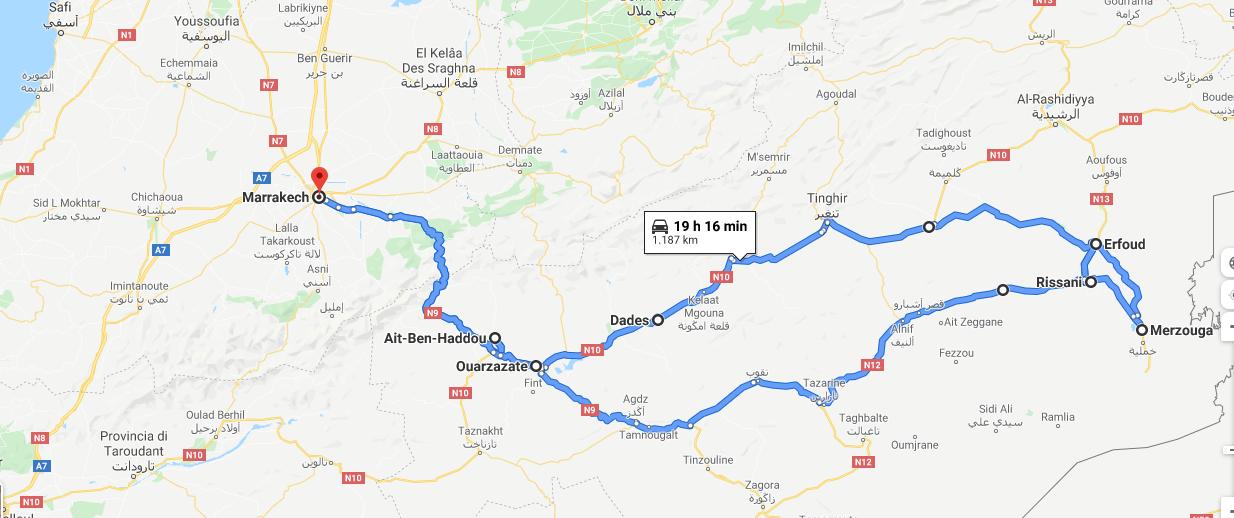 itinerario da Marrakesh a Merzouga - Piedini in Viaggio